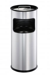 Papierkorb Metall 17 Liter mit integriertem Ascher