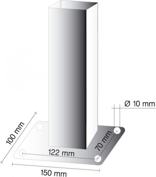 mit 1 /Öse Absperrpfosten 70 x 70 mm ortsfest mit Bodenplatte 100 x 150 mm f/ür D/übelbefestigung